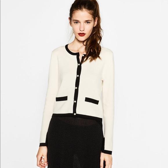467ffc3b Zara Sweaters   Nwt Contrast Piping Pearl Button Cardigan   Poshmark